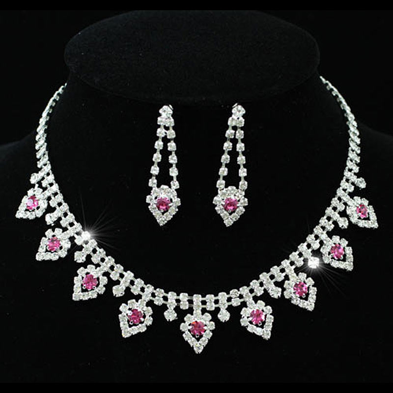 Bridal Wedding Party Quality Pink Crystal Bridal Wedding Necklace Earrings Set CS1152