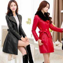 Latest Autmn/Winter Fashion Women Leather clothing High quality Medium long Coat Long sleeve Slim Big yards Leather coat NZ316
