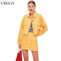 Spring Yellow 2 Piece Set Denim Skirt Suit Womens Two Piece Sets 2018 Single Breasted Short Jacket And Mini Skirt High Waist