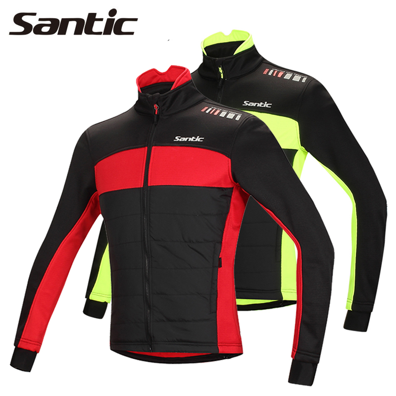 Santic Men Winter Cycling Jacket Windproof&Thermal Fleece Ropa Ciclismo Invierno MTB Bike Jacket Running Jacket Breathable 2017 santic mens breathable cycling jerseys winter fleece thermal mtb road bike jacket windproof warm quick dry bicycle clothing