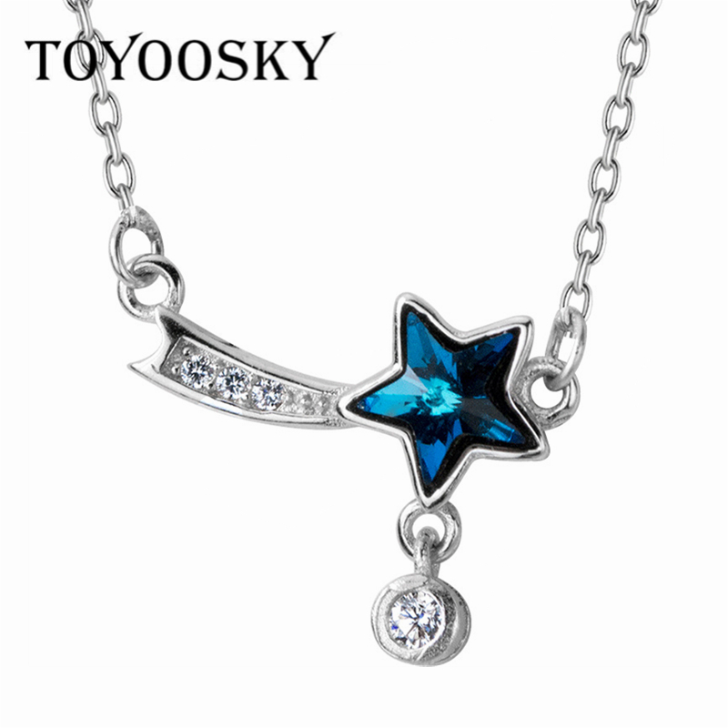 Necklaces & Pendants Dutiful Toyoosky 925 Sterling Silver Meteor Necklace Female Blue Crystal Star Short Paragraph Five-pointed Star Necklace Chain Jewelry Chain Necklaces