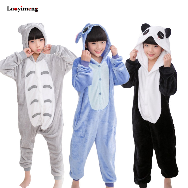 Winter Boys Girsl Panda Pajamas Onesie Unicorn Children Hooded Sleepers Unisex Flannel Stitch Kids Animal Pyjamas Sleepwear Baby