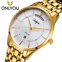 ONLYOU Luxury Golden Quartz Watch Casual Watches Women Waterproof Wristwatch Man Military Clock date Shown Lovers Watch hot