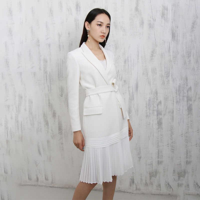 LANMREM/Новинка 2019 года; модное плиссированное платье с вырезом; цвет белый; Тип костюма; женская одежда с длинными рукавами; Vestido YE61500