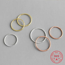 Authentic Rose Gold Thin Circle Rings For Women 2019 New Trend 100% 925 Sterling Silver Minimalism Fashion Jewelry