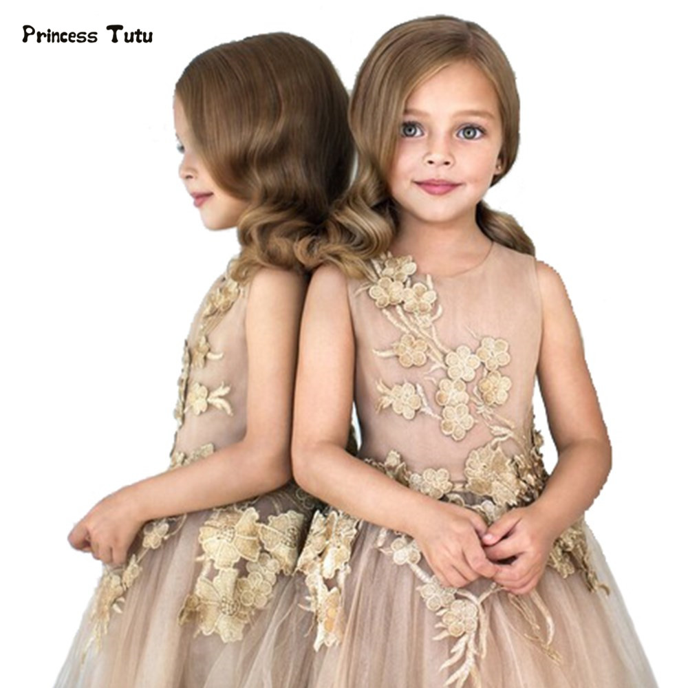Custom Tulle Girls Dress Embroidery Princess Dress Three-Dimensional Flower Girl Dress Child Kid Wedding Party Pageant Ball Gown custom tulle girls dress embroidery princess dress three dimensional flower girl dress child kid wedding party pageant ball gown