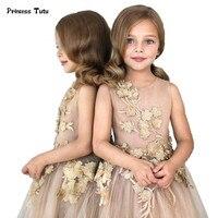 Custom Tulle Girls Dress Embroidery Princess Dress Three Dimensional Flower Girl Dress Child Kid Wedding Party