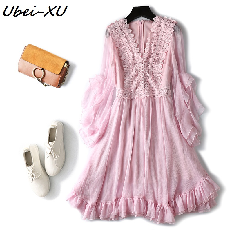 Ubei nouveau Style robe dentelle mousseline de soie robe femme été doux rose robe femmes