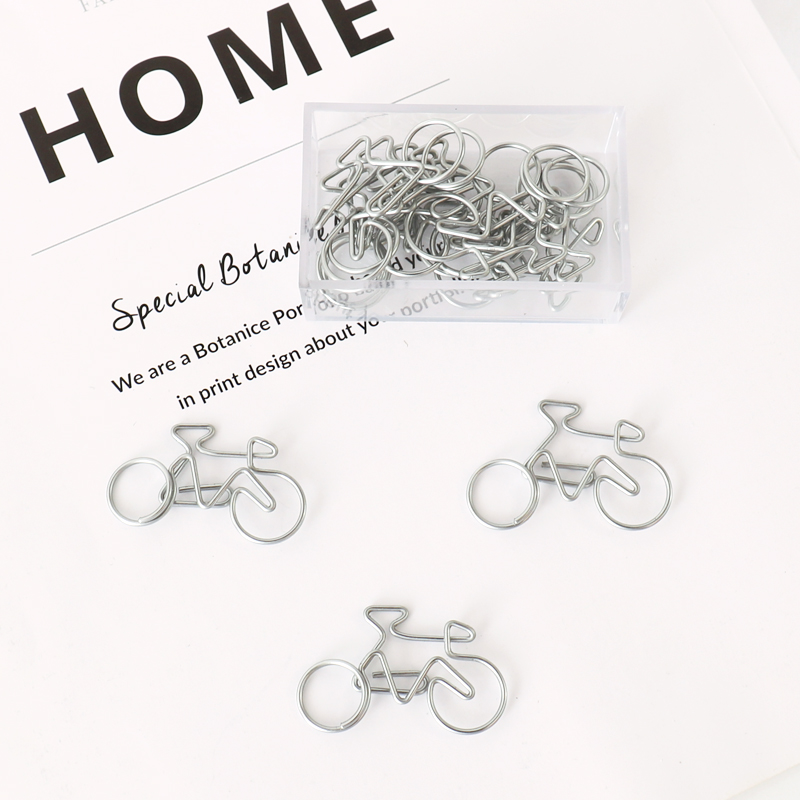 TUTU 10Pcs Cute Decorative Bicycle Shaped Paper Clips Scrapbook Memo Clip Metal Binder Paperclips Bookmark Stationery H0318