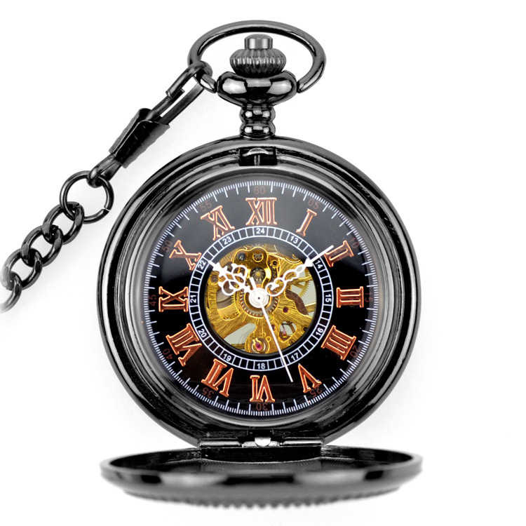 Gun Black Skeleton Mechanical Hand Wind Pocket Fob Watches Clamshell Business Men Watch Pendant Necklace Full Star Carved Gift new black skeleton five star luxury hot stylish retro cool crown pattern hand wind mechanical pocket watch supernatural gift