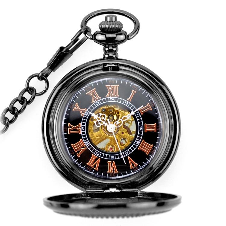 Relógios de Bolso Preto Esqueleto Vento Mecânica Fob Clamshell Negócios Men Ver Presente Colar Pingente Estrela Completa Esculpida Gun Mão