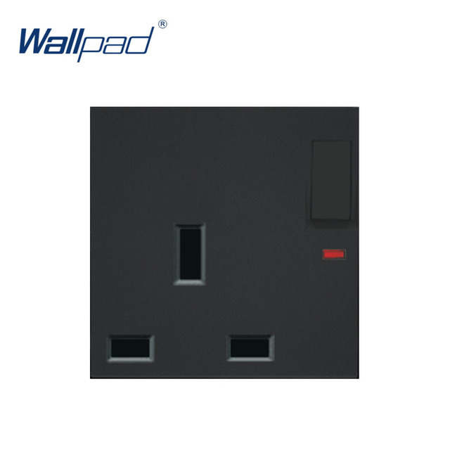 Wallpad Luxury 3 Pin 13A UK Socket With Switch Electric Outlet Function Key For Wall White And Black Plastic Module Only