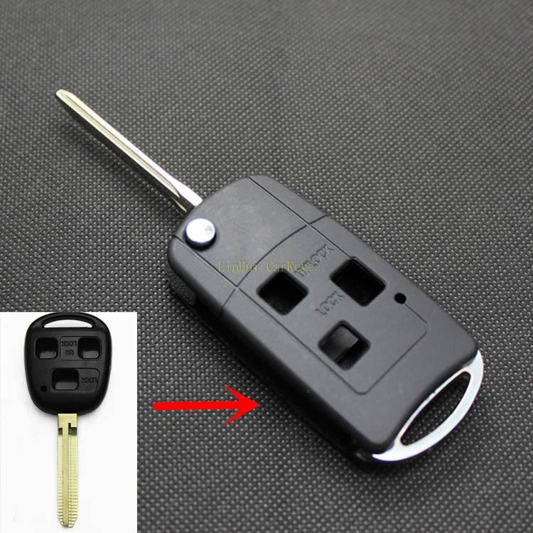 POMME DE PIN 3 Boutons Key Case pour TOYOTA CAMRY 2.4 PRADO LAND CRUISER FJ YARIS AVENSIS VELA À Distance Clé De Voiture Styling Key Shell 1 PC
