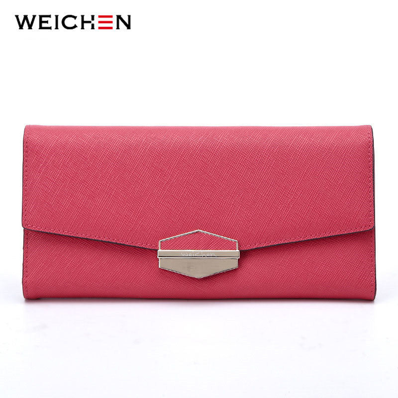 WEICHEN Brand Envelope Design Genuine Leather Women's Long Wallets Hasp Female Wallet Clutch Bags Card Holders For Lady Purses casual weaving design card holder handbag hasp wallet for women