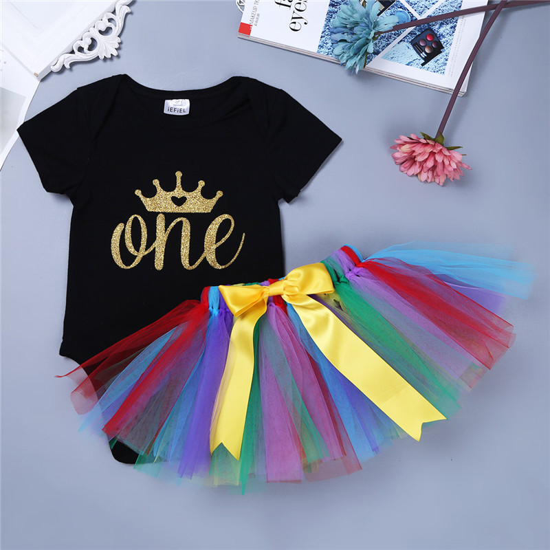 2017 Hot New Baby Girl Clothing Summer Crown Bow Toddler Baptism Clothes (Tops+Dress) 2pcs Clothes Baby First Birthday Costumes image