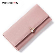 WEICHEN Fashion Fruit Pattern Women Wallets Pearl Element Leather Long Wallet Female Brand Card Holder Ladies Purse Carteira Hot free shipping new fashion brand hot sale women s long wallet ladies purse female cards holder 100
