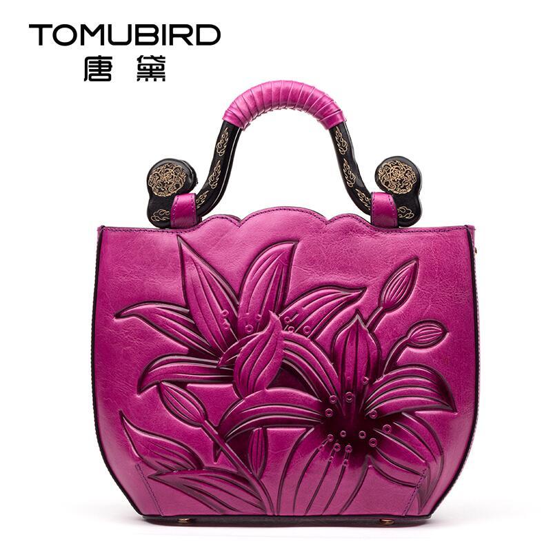 Натуральная кожа Сумка Бесплатная доставка Для женщин сумка оригинальный национальный ветер сумка ретро тиснением сумки