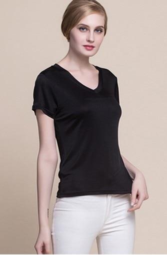 Hk black rhyme été 100% mûrier soie mode col en v t-shirts à manches courtes femmes porter des tricots en soie