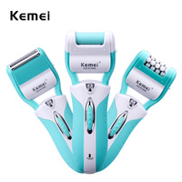 220 240V Kemei 3 In 1 Lady Shaver Epilator Electric Shaving Hair Removal Women Trimmer Bikini Body depilator Women Trimmer Shave