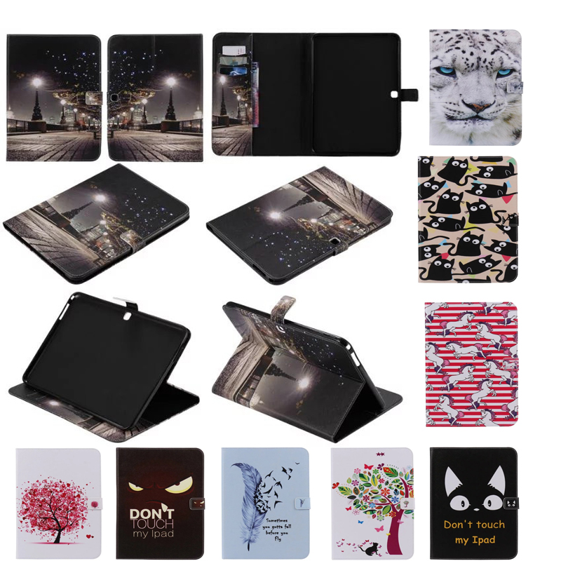 Fashion Painted Flip PU Leather sFor Samsung Galaxy Tab 4 10.1 Case For Samsung Galaxy Tab 4 T530 T531 T535 Smart Case Cover