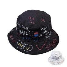 add9d9f0f2217 Harajuku Letter Graffiti Bucket Hat Men Women Fisherman Hat Spring Summer  Outdoor Unisex Panama Sun Hats