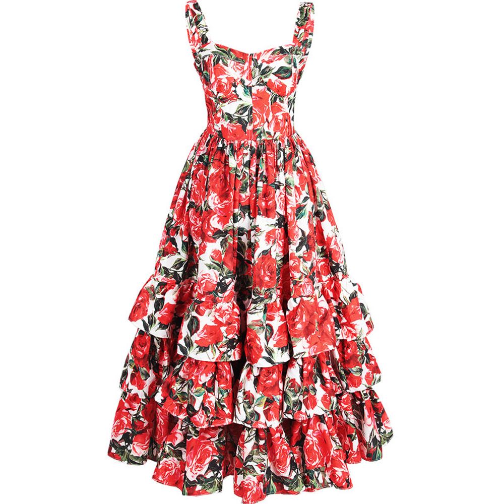 Red RoosaRosee Fashion Runway Women Ball Gown Dress Sexy Backless Floral Print Cascading Ruffle Summer Strap