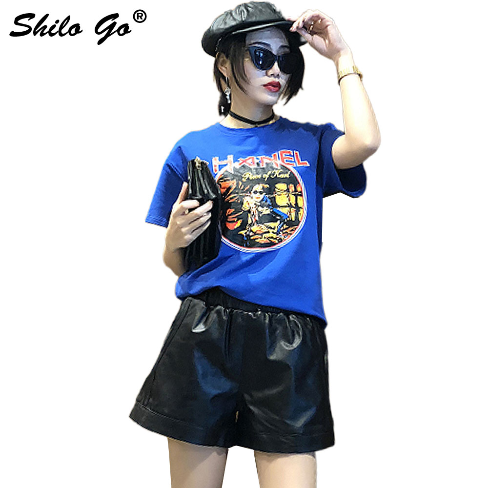 SHILO GO Leather Shorts Womens Spring Fashion Sheepskin Genuine Leather Shorts Stretch High Waist Side Casual Loose Wide Leg