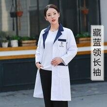 fe992654a معطف أبيض طويل الأكمام الطبيب الملابس النساء نمط التطريز التجميل الجمال  صالون صيدلية الجلد إدارة ملابس
