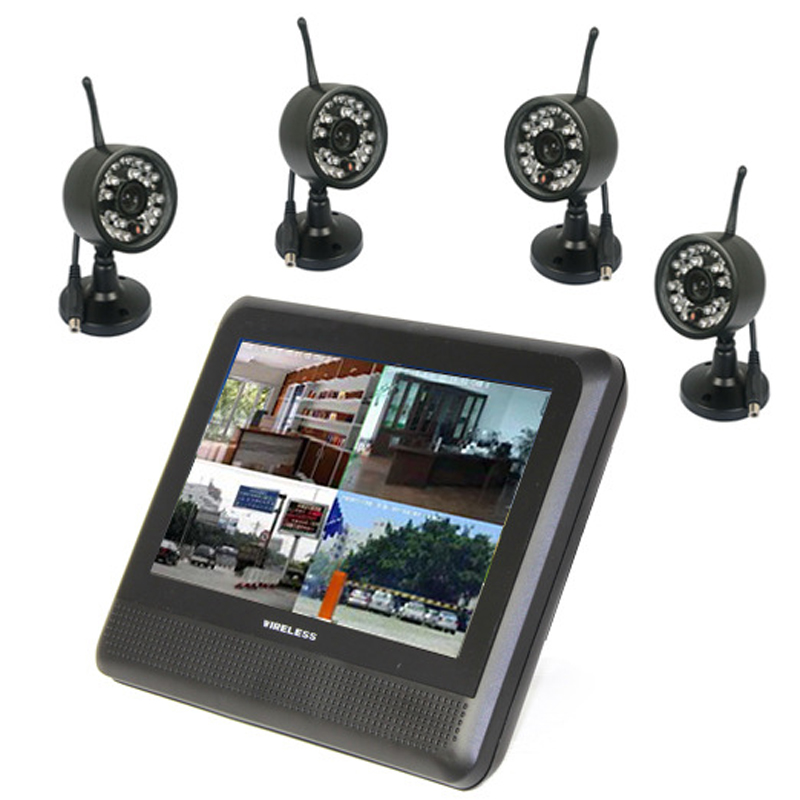 4Ch 2.4Ghz Wireless Digital Waterproof Camera & 7 TFT LCD Monitor with QUAD Display & Local Recording in Max 32Gb TF Card