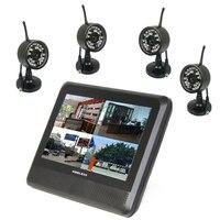 4ch 2.4 ГГц Беспроводной цифровой Водонепроницаемый Камера и 7 TFT ЖК дисплей Мониторы с Quad Дисплей местных и Запись в MAX 32 ГБ TF карты