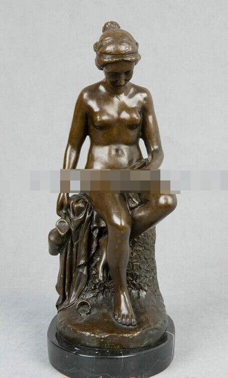 JP S1150 Art Deco Sculpture Sexy Beautiful Girl Nude Woman Bronze Statue