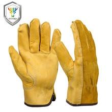 OZERO мужские рабочие перчатки из воловьей кожи, защитные перчатки для водителей, защитные рабочие перчатки, Сварочные Перчатки для мотоциклистов, охоты, пеших прогулок для мужчин 0007