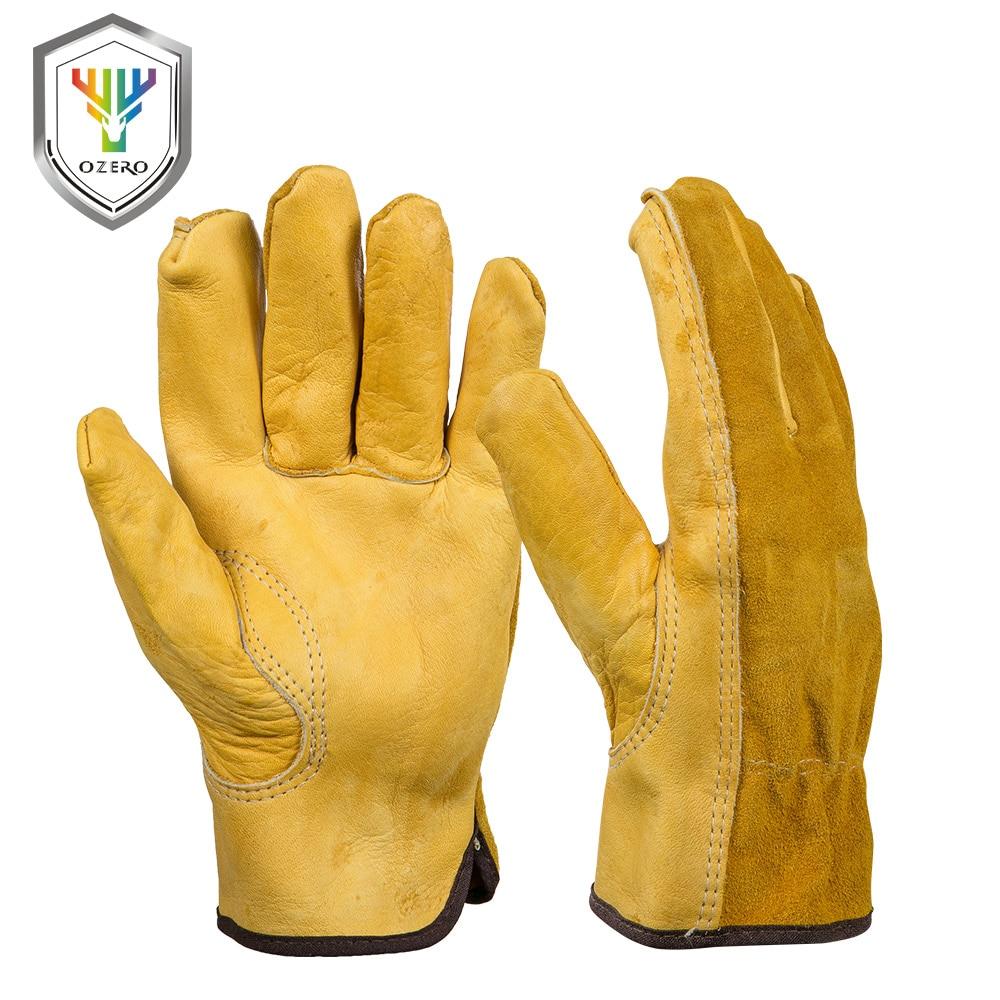 OZERO Männer der Arbeit Handschuhe Rindsleder Fahrer Sicherheit Schutz Tragen Sicherheit Arbeiter Schweißen Moto Jagd Wandern Handschuhe Für Männer 0007