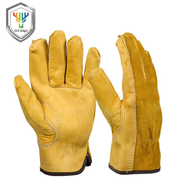 OZERO Mens Work Gloves Cowhide Driver Security Protection Wear Safety Workers Welding Moto Hunting Hiking Gloves For Men 0007