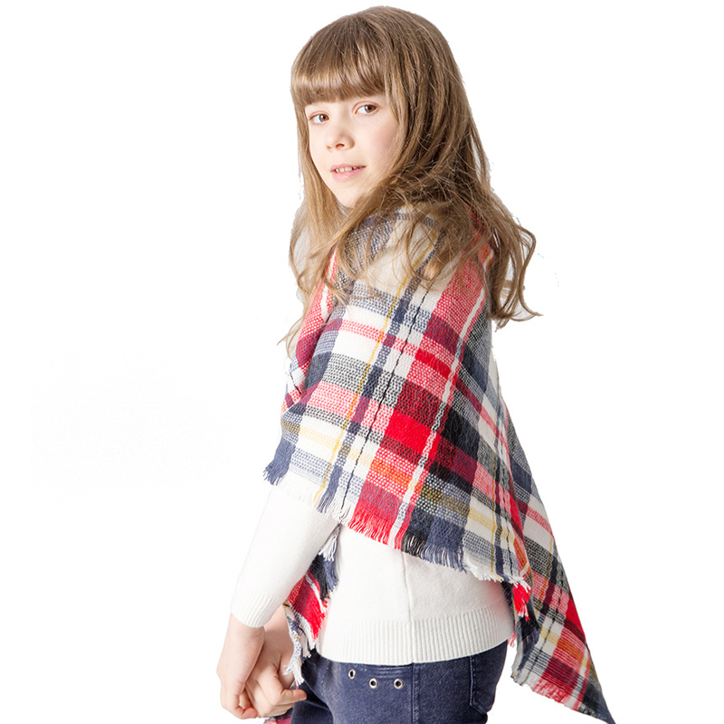 Autumn Winter New Tassel Imitation Cashmere Children 39 s Triangle Plaid Square Warm Scarf Shawl in Scarves from Mother amp Kids