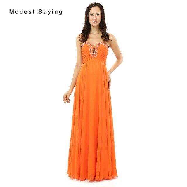vestido de festa New Orange Evening Dresses Party with Beaded ...