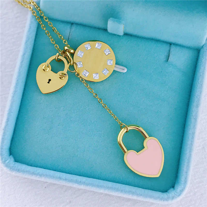 Classic Carve Forever key lock Love Heart Pendant Necklace For Women Titanium Steel Gold Color Woman Necklace Earings Jewelry