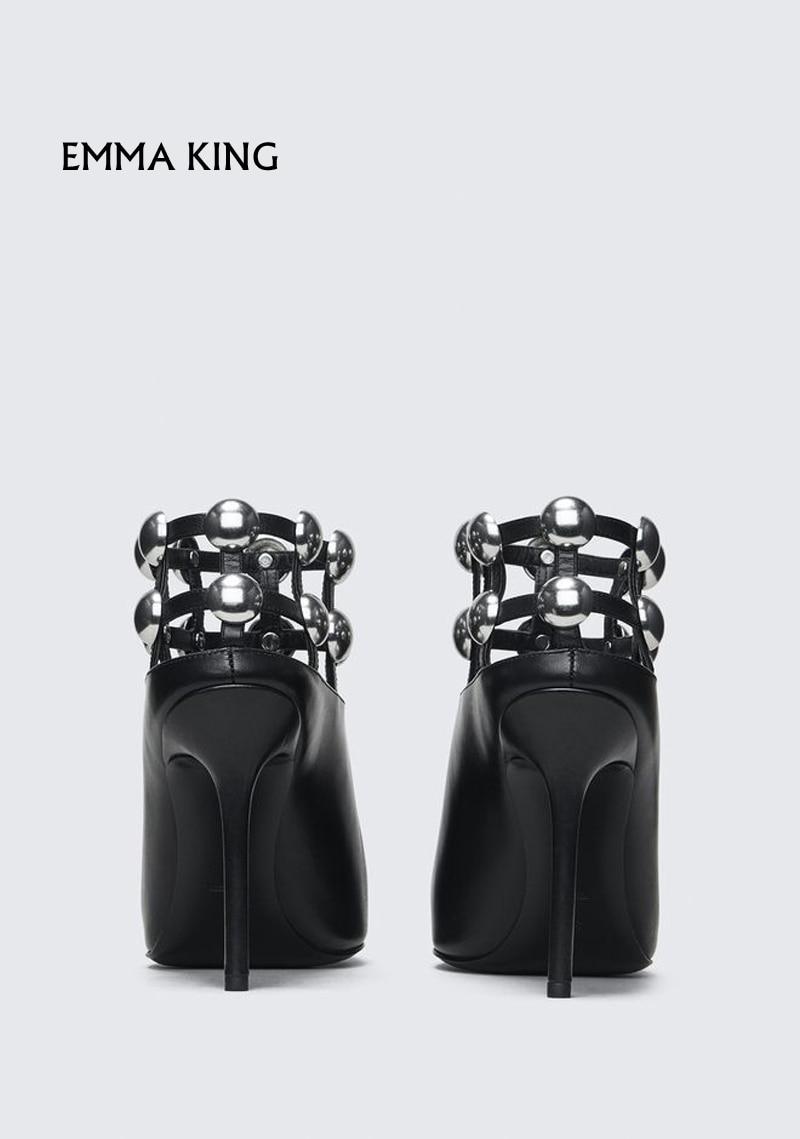 Cheville Roi Cage Femmes Manchette Pointu Gratuite Avec Bottes Argent Et Emma De En Chaussures Goujons Mode Importante Orné Parti Bout Élégant Black Livraison f5d81wq