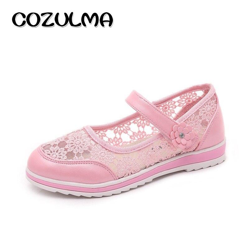 COZULMA Children Summer Flower Shoes Girls Fashion Lace Sandals Summer Autumn Style Kids Flat Causal School Shoes