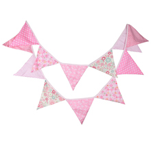 12 Flags 3.2m Elegant Pink Flower Cotton Fabric Bunting Pennant Banner Garland Baby Shower Outdoor DIY Home Room Decor