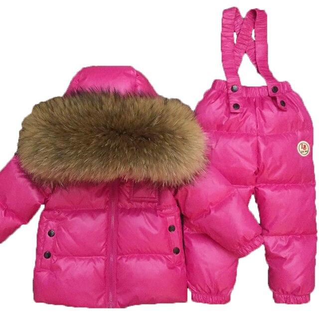 2018 детский лыжный костюм для маленьких мальчиков на русскую зиму Детская куртка на утином пуху для девочек, пальто, комбинезоны теплая куртка комплект для маленьких девочек