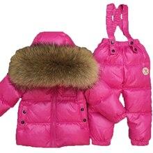 Traje de esquí para niños, traje de invierno ruso para bebé, chaqueta de plumón de pato para niña, abrigo, monos, chaqueta cálida, conjunto para chico y Niña 2018
