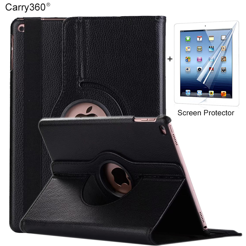 купить Case for iPad 2 3 4, Carry360 Litchi PU Leather 360 Degree Rotating Stand Smart Cover for Apple iPad 2 3 4 + Screen Protector недорого