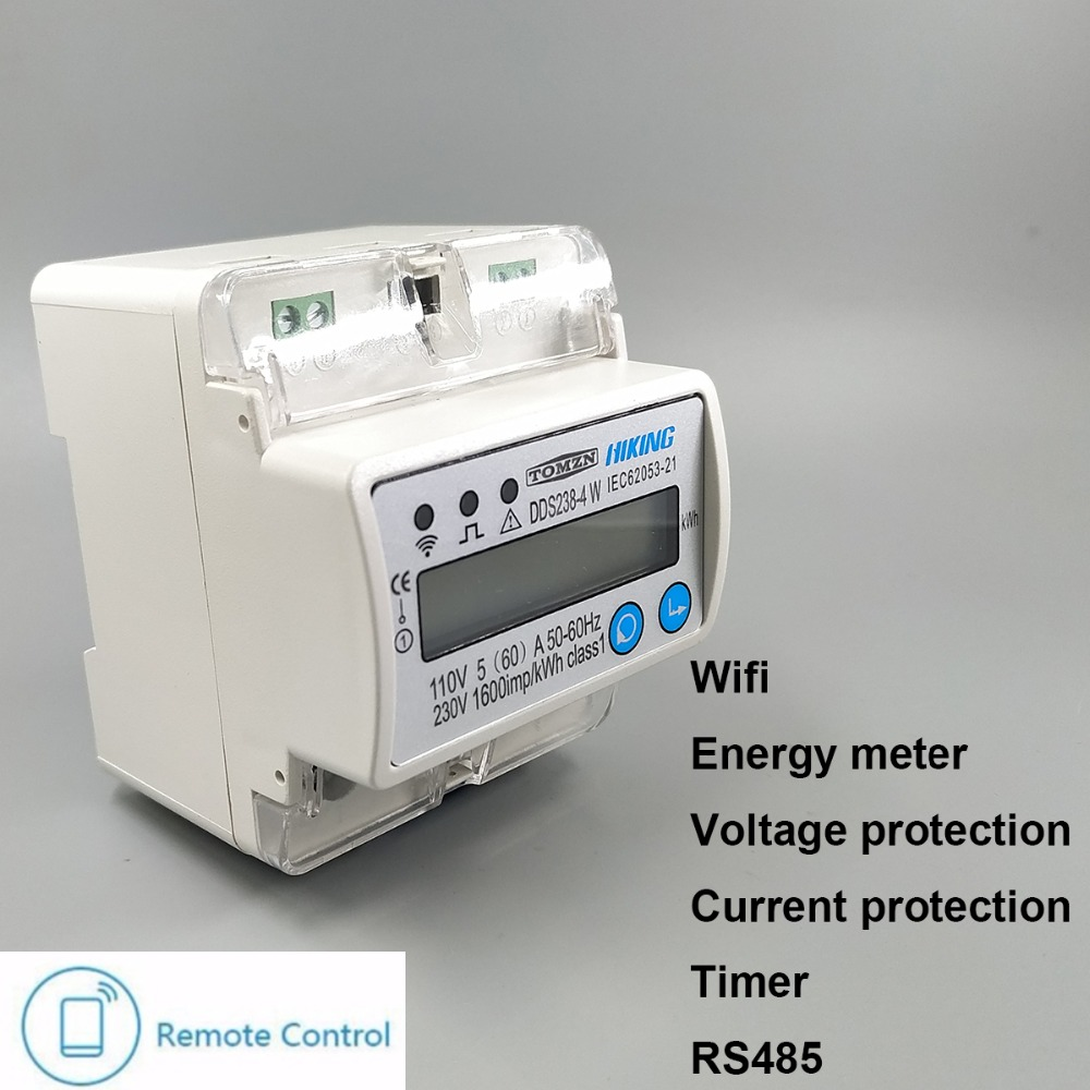 5 5 In Meters Us 27 5 60 A 110v 230v 50hz 60hz Single Phase Din Rail Wifi Smart Energy Meter Over And Under Voltage Current Protection Rs485 In Energy Meters