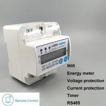 5(60) A 110V 230V 50HZ 60HZ однофазный din-рейка WIFI умный счетчик энергии кВтч Защита от перенапряжения тока RS485