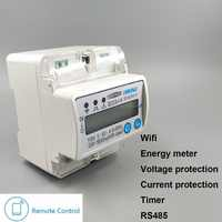 5(60)A 110V 230V 50HZ 60HZ Single phase Din rail WIFI smart energy meter Kwh over and under voltage current protection RS485