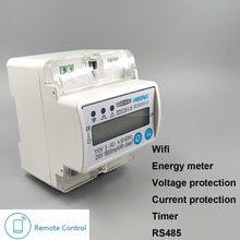 5(60) medidor de energia inteligente wifi de trilho din, uma 110 v 230 v 50 hz 60 hz kwh mais e proteção de corrente de sob tensão rs485