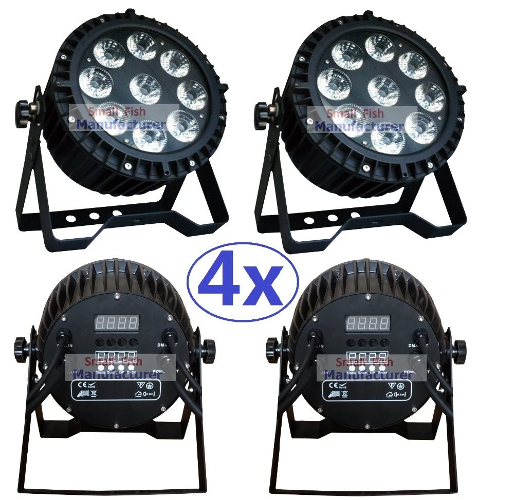 4xLot Led Par Light Waterproof 9x10W RGBW Quad Color High Power Flat Par Can IP65 Outdoor Professional DJ DMX Disco Stage Lights
