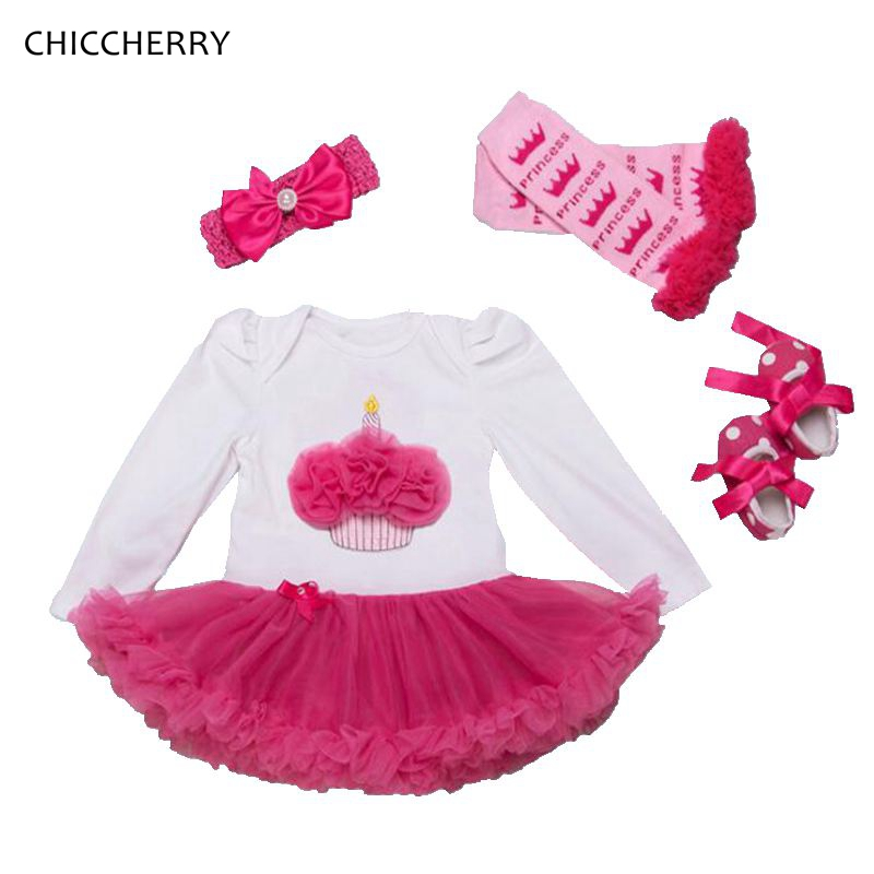 Ruffle Cupcake Long Sleeve Baby Girls Birthday Tutu Sets Lace Petti Romper Dress Headband Leg Warmers Crib Shoes Infant Clothing
