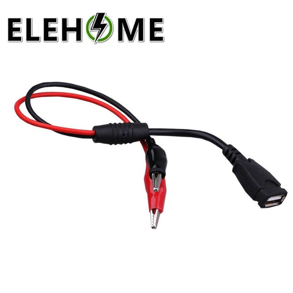 Cocodrilo abrazadera de alambre a la hembra conector USB de prueba de cobre-#